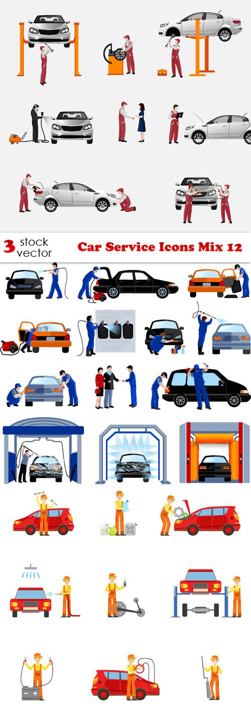 Vectors - Car Service Icons Mix 12