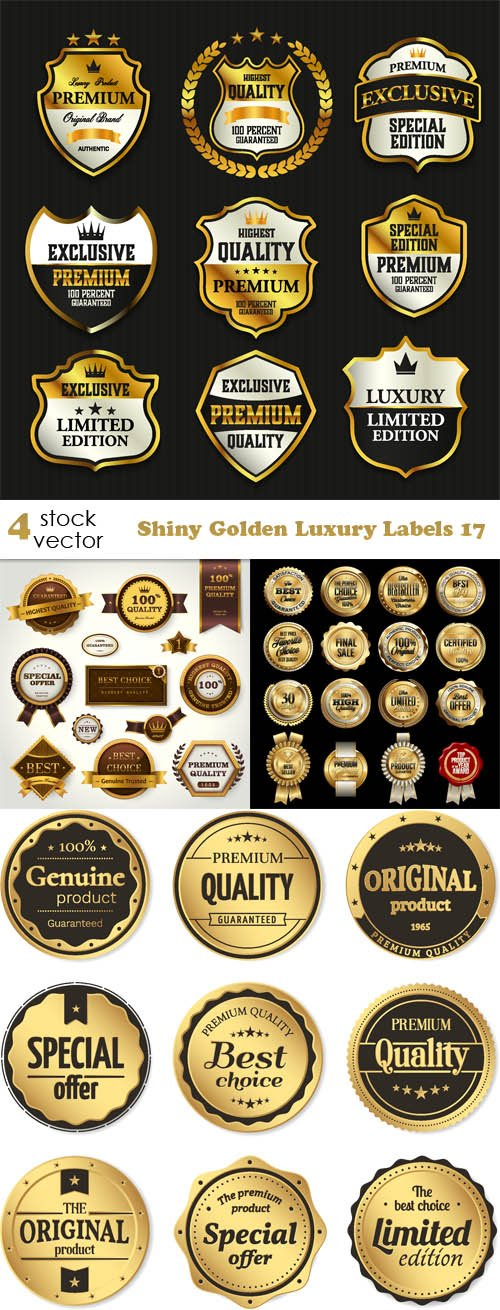 Vectors - Shiny Golden Luxury Labels 17
