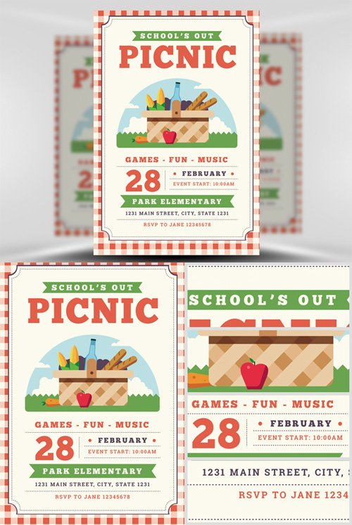Flyer Template  Schools Out Picnic  Nitrogfx  Download Unique