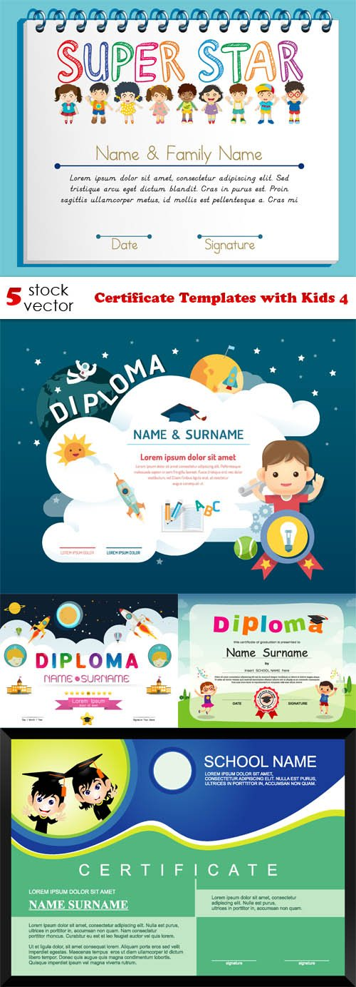 Vectors - Certificate Templates with Kids 4