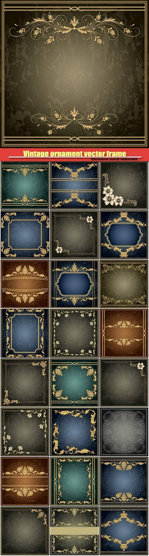 Vintage ornament vector frame