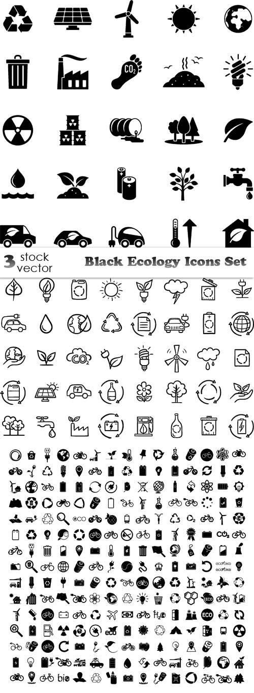 Vectors - Black Ecology Icons Set