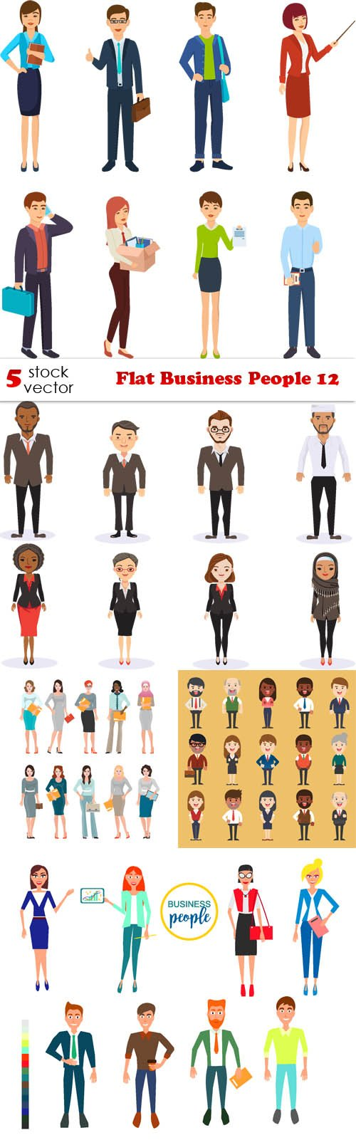 Vectors - Flat Business People 12