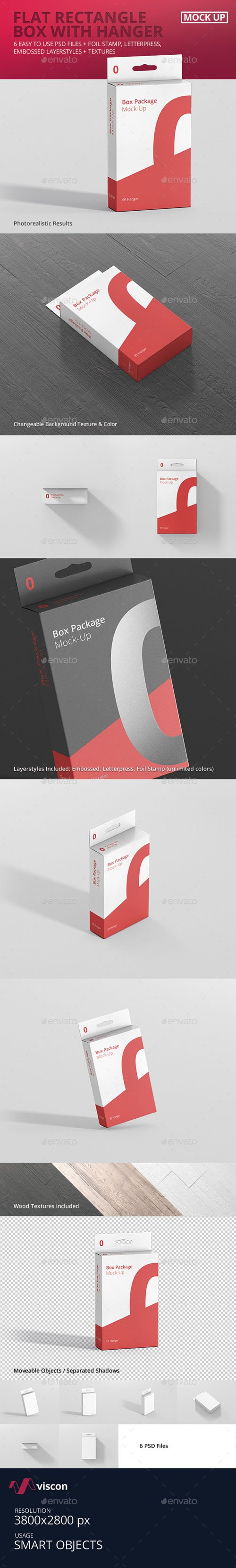 Package Box Mock-Up - Flat Rectangle with Hanger 17920401