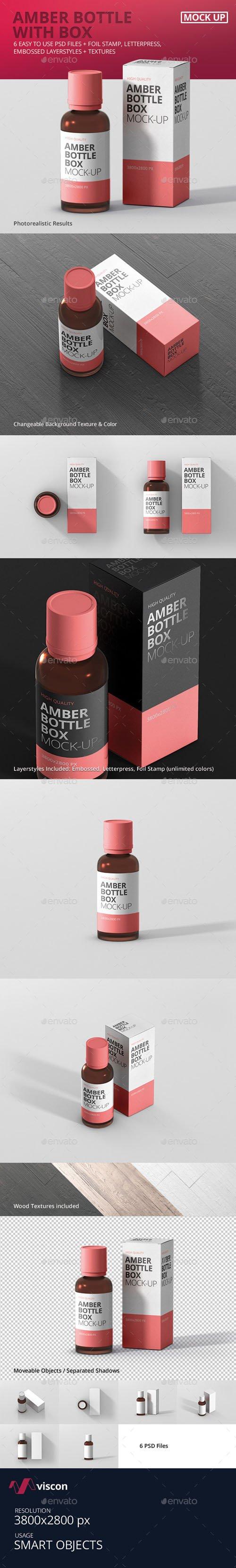 Amber Bottle Box Mockup 18016783