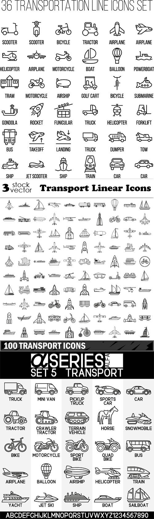 Vectors - Transport Linear Icons