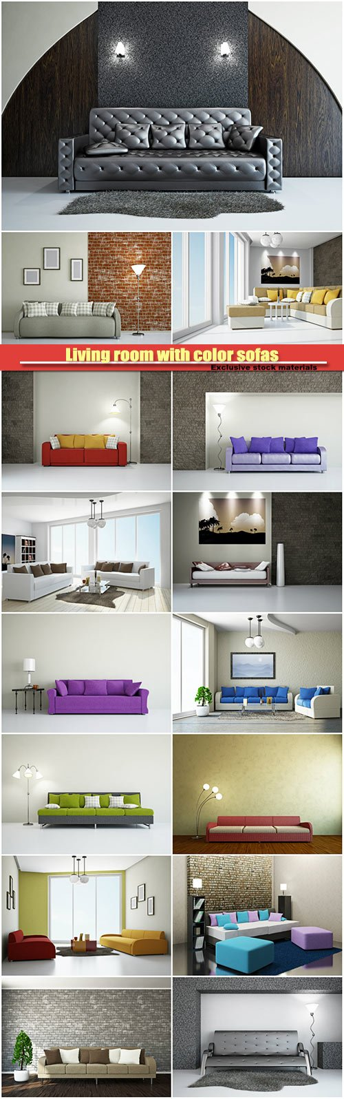 Living room with color sofas