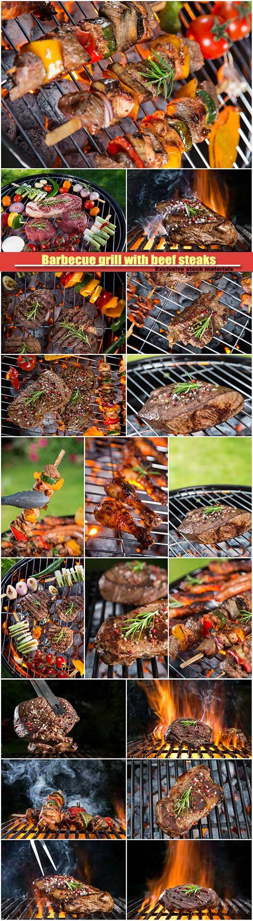 Barbecue grill with beef steaks and sea fishes
