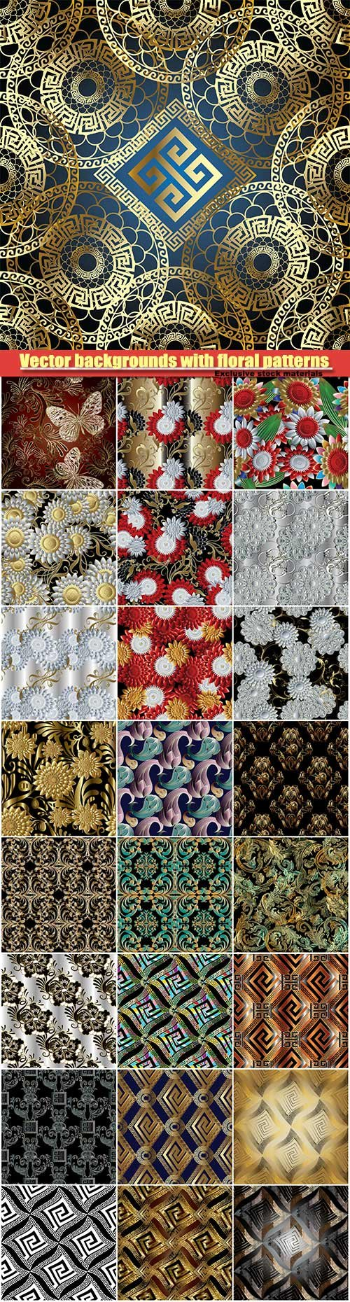 Vector backgrounds with floral and abstract patterns