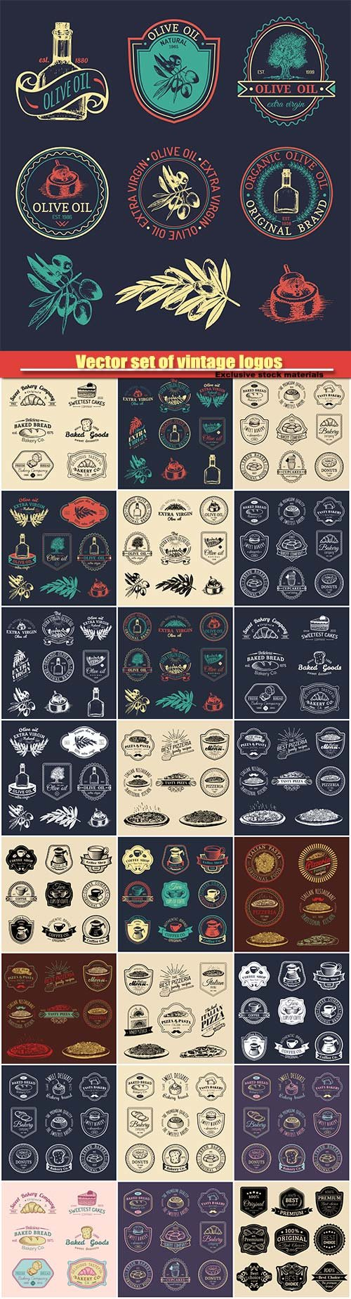 Vector set of vintage logos, restaurant icons, emblems collection