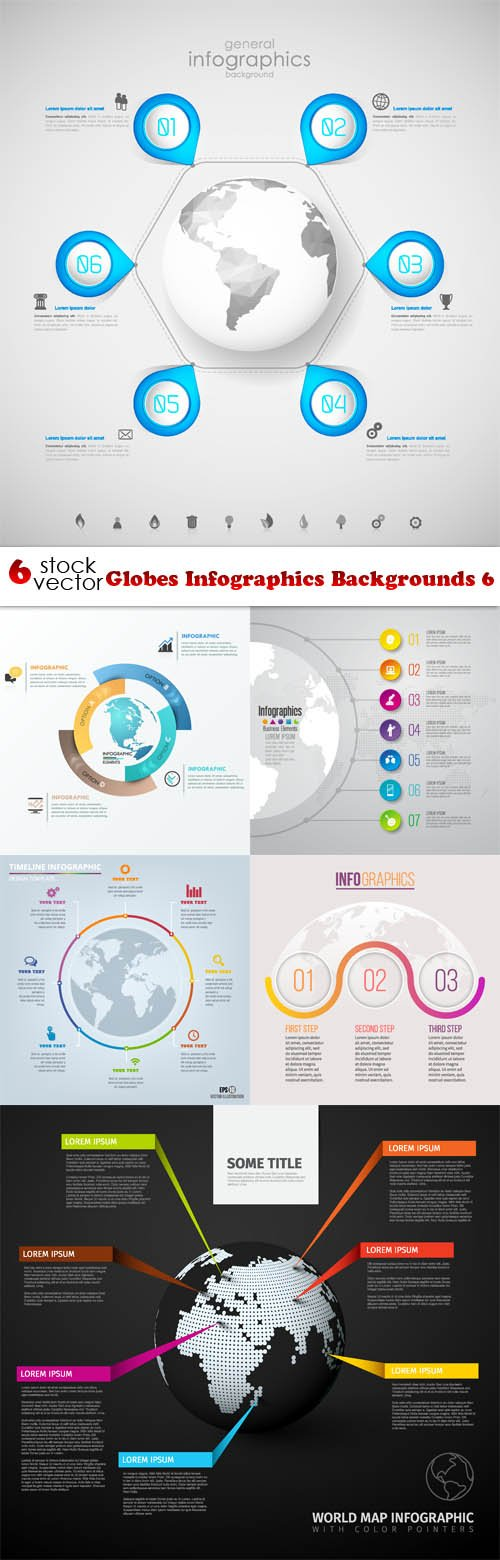 Vectors - Globes Infographics Backgrounds 6