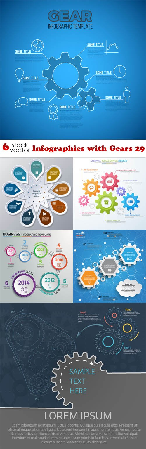 Vectors - Infographics with Gears 29