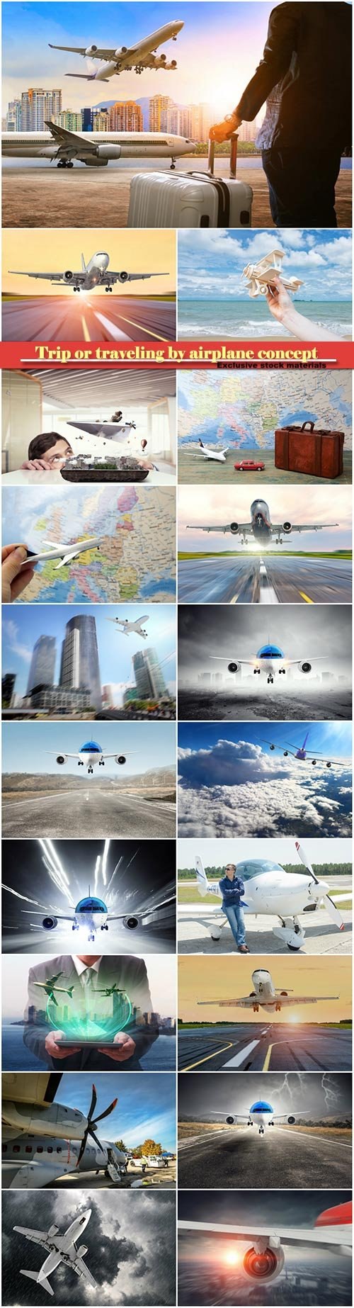 Trip or traveling by airplane concept