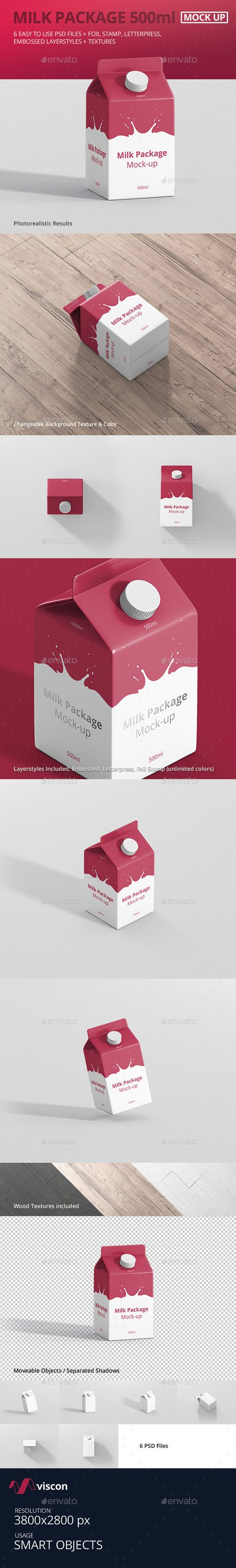 Juice / Milk Mockup - 500ml Carton Box 18181976
