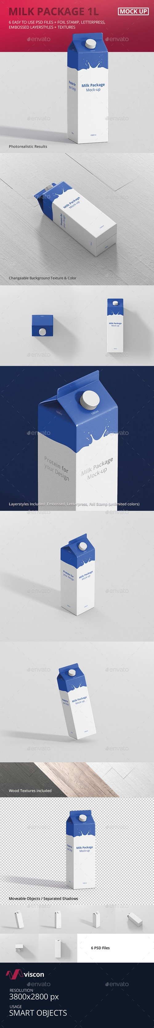 Juice / Milk Mockup - 1L Carton Box 18160970