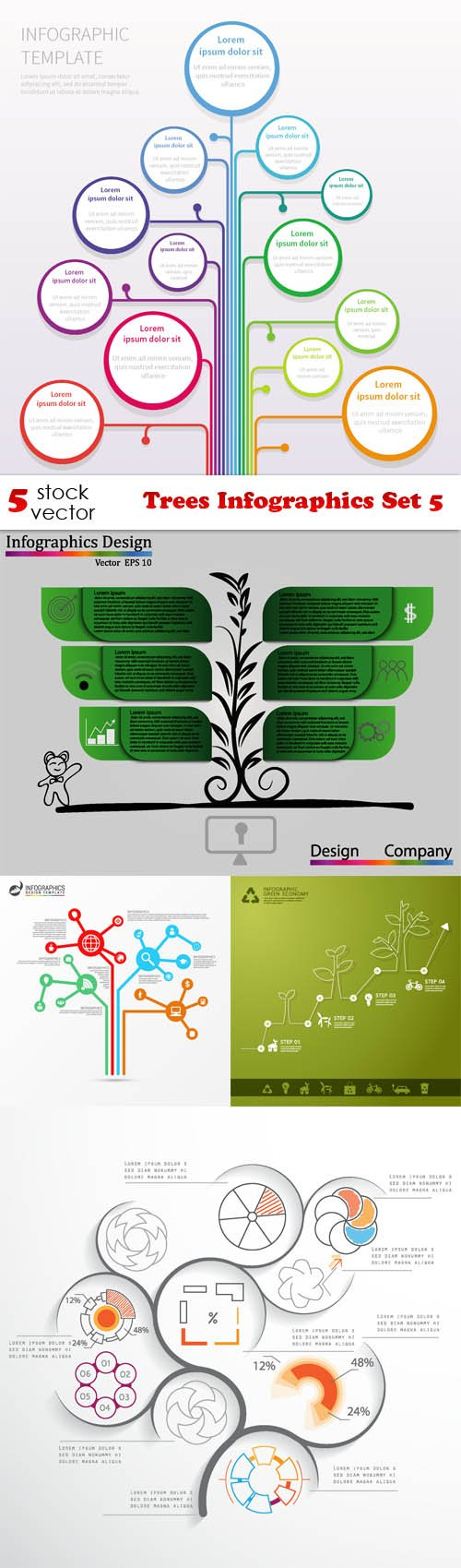 Vectors - Trees Infographics Set 5