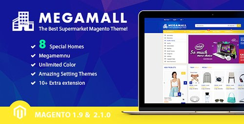 ThemeForest - MegaMall v1.0.0 - Multi-purpose & Supermarket Magento 1.9 & Magento 2.1 Theme (8 creative Designs) - 17939157