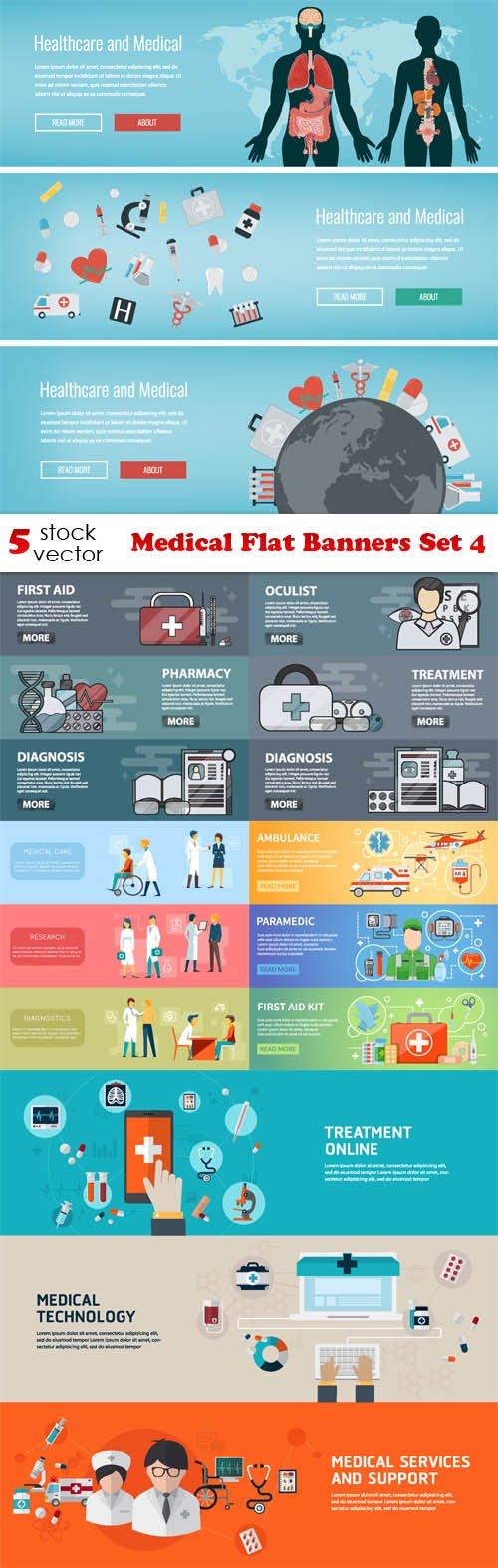 Vectors - Medical Flat Banners Set 4
