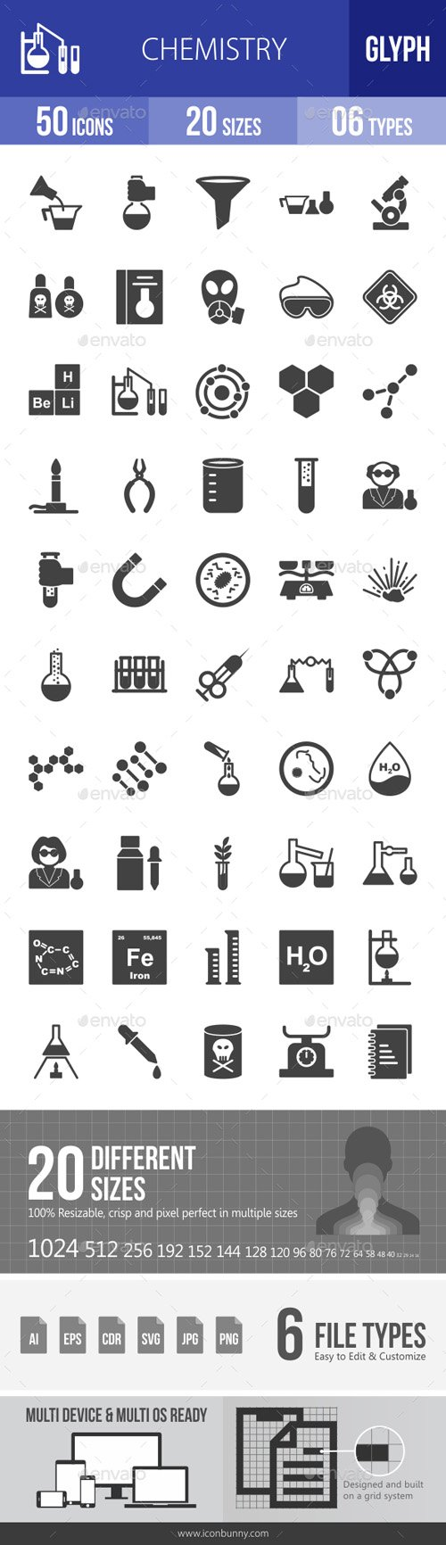 Chemistry Glyph Icons 18027290