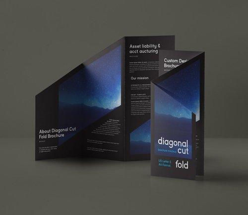 Diagonal Tri Fold Mockup US A4