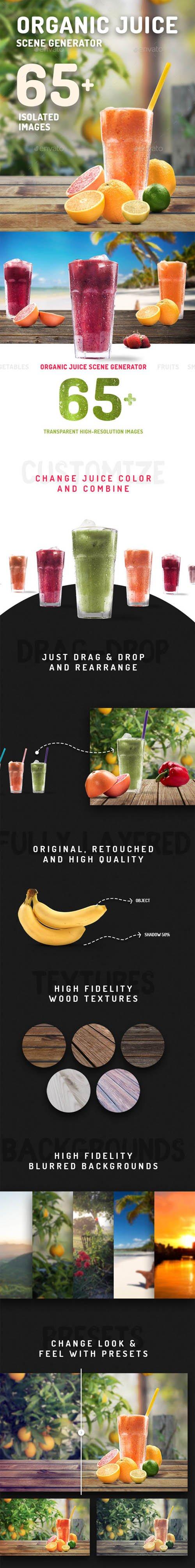 Organic Juice Mockup & Hero Image Scene Generator 19731811