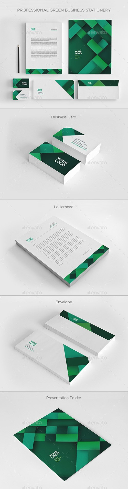 Professional Green Business Stationery 19751586