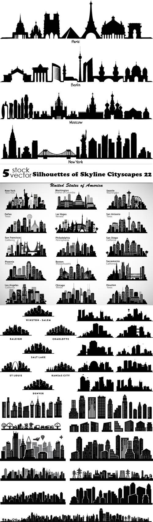 Vectors - Silhouettes of Skyline Cityscapes 22
