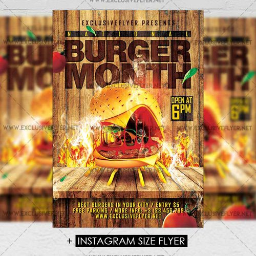 Premium A5 Flyer Template - Burger Month