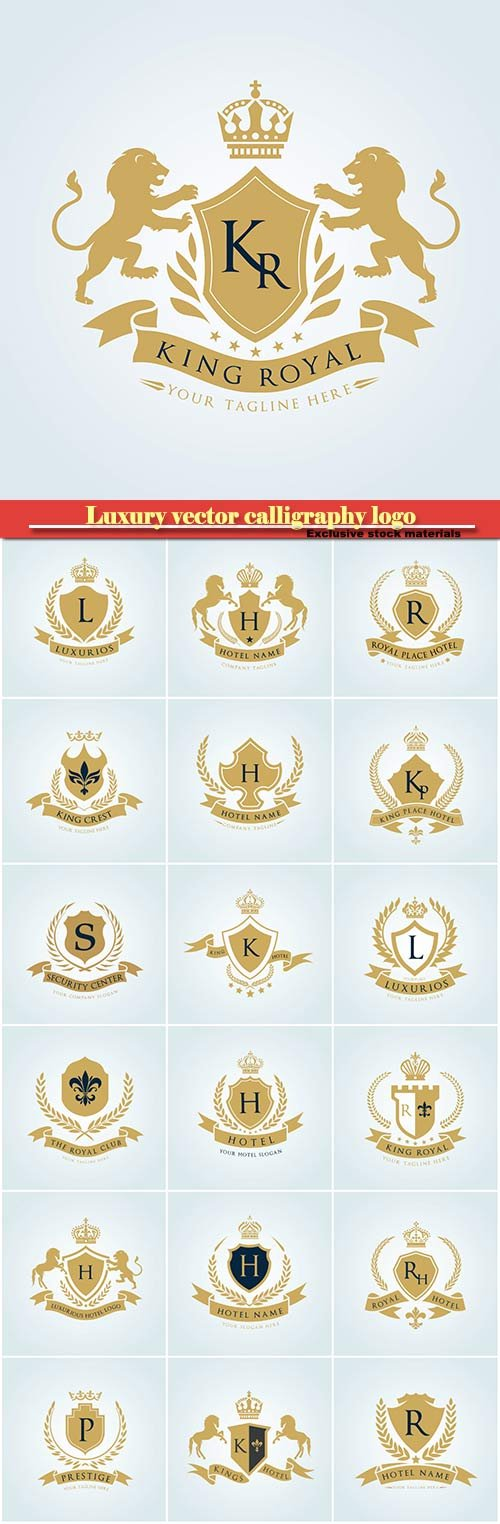 Luxury vector calligraphy logo, heraldry stamp premium insignia design crown