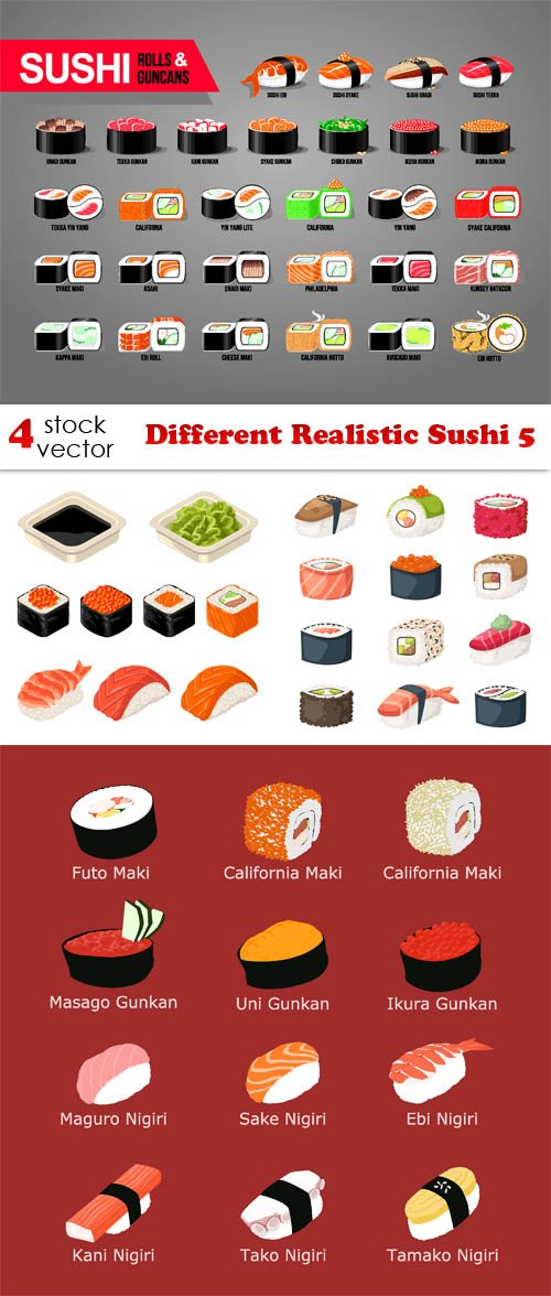Vectors - Different Realistic Sushi 5