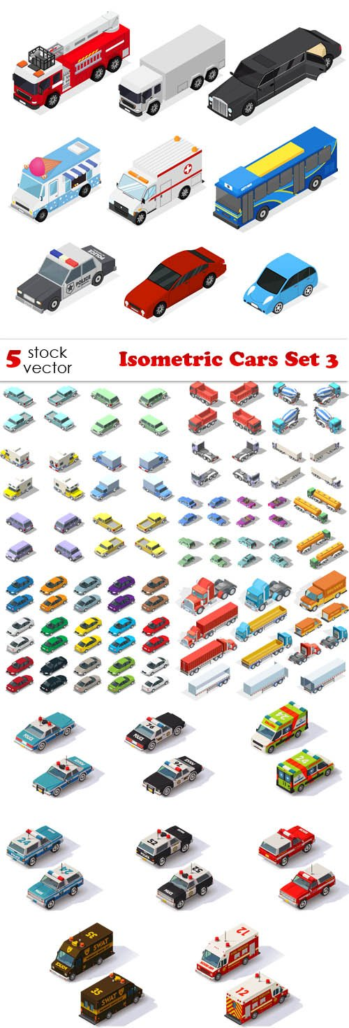 Vectors - Isometric Cars Set 3