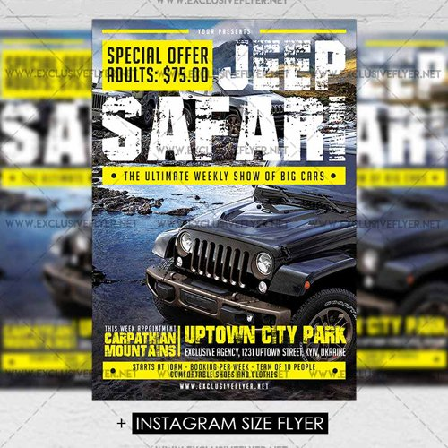 Premium a5 flyer template jeep safari 187 nitrogfx download unique