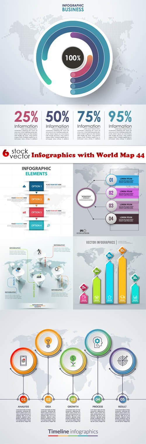 Vectors - Infographics with World Map 44