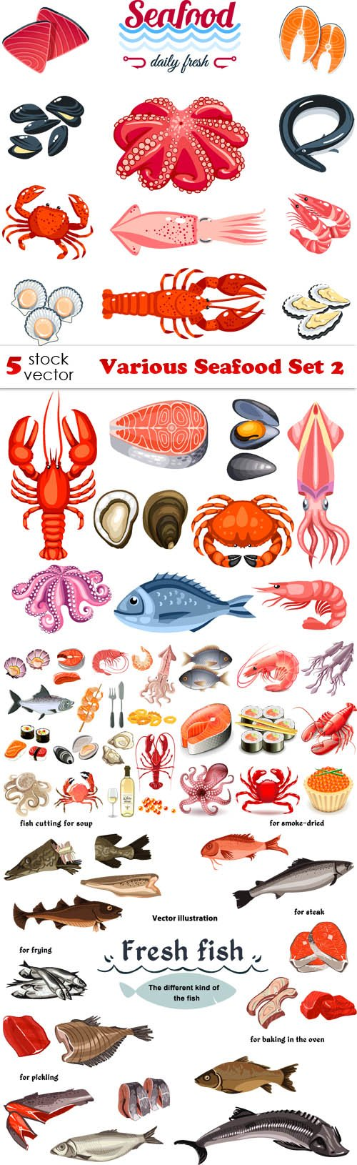 Vectors - Various Seafood Set 2