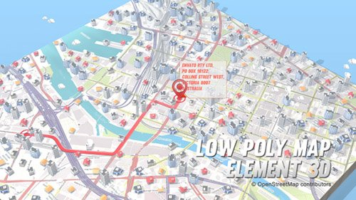 Lowpoly Map Element 3D - Project for After Effects (Videohive)