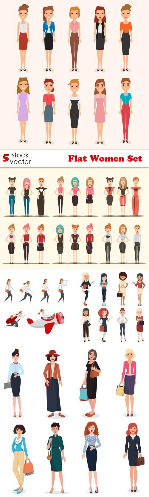 Vectors - Flat Women Set