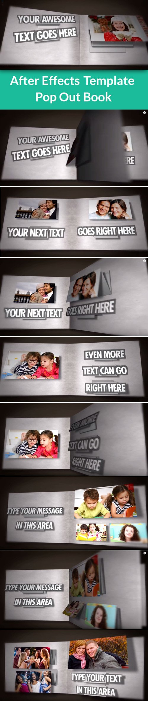 Pop out book after effects template aep nitrogfx for Aep templates free download