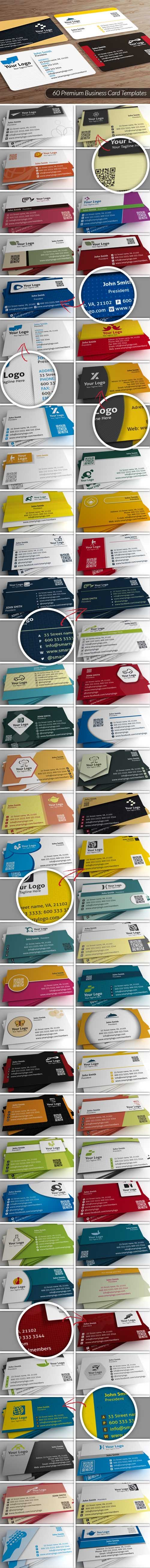 60 Fully Customizable Business Cards PSD Templates