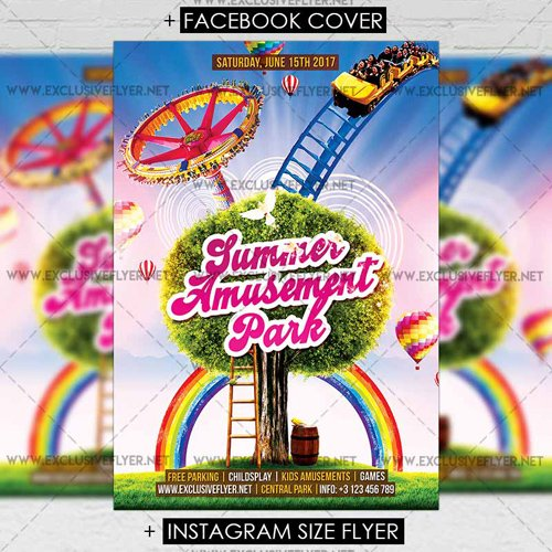 Premium A5 Flyer Template - Summer Amusement Park