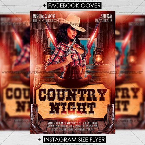 Premium A5 Flyer Template - Country Night