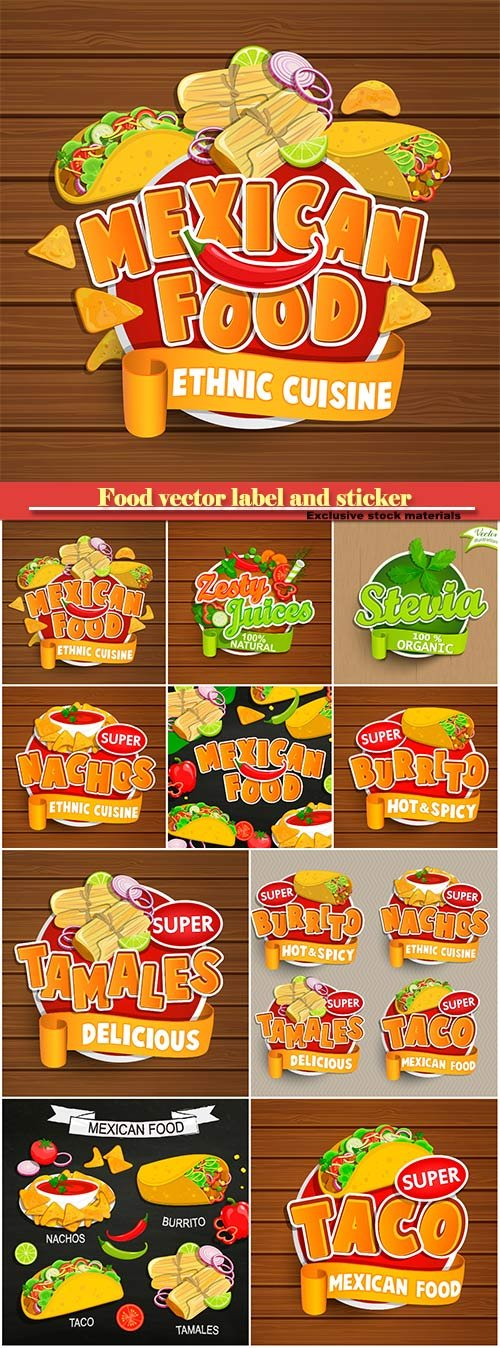Food vector label and sticker
