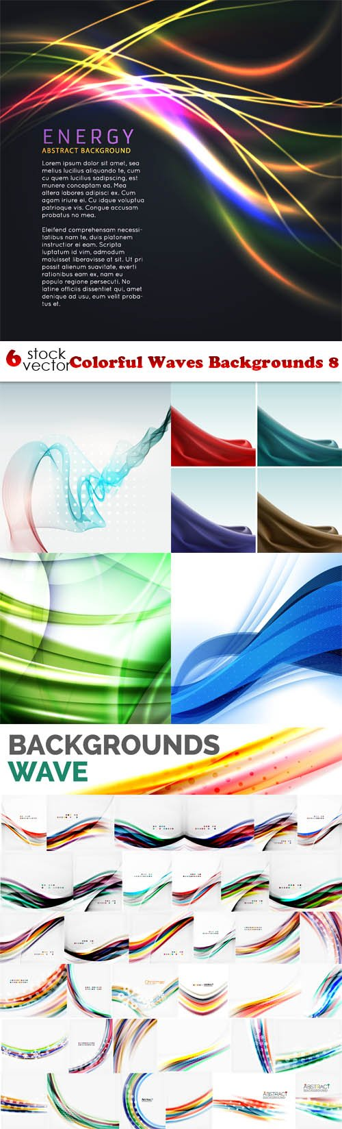 Vectors - Colorful Waves Backgrounds 8
