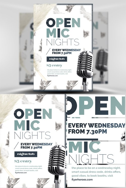 Feather Series - Open Mic Night Flyer Template