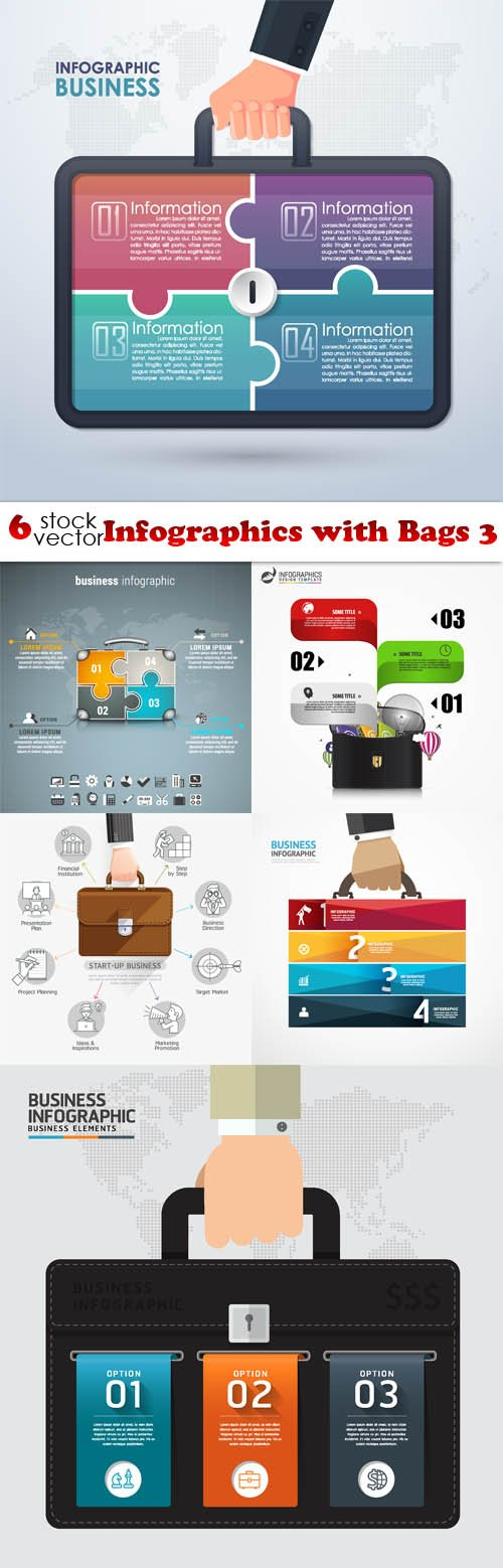 Vectors - Infographics with Bags 3