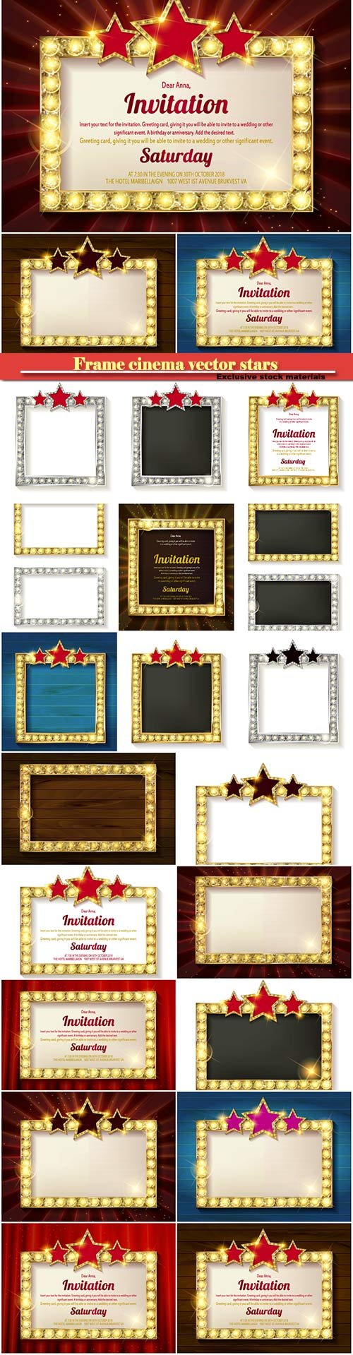 Frame cinema vector stars, invitation with a gold decoration