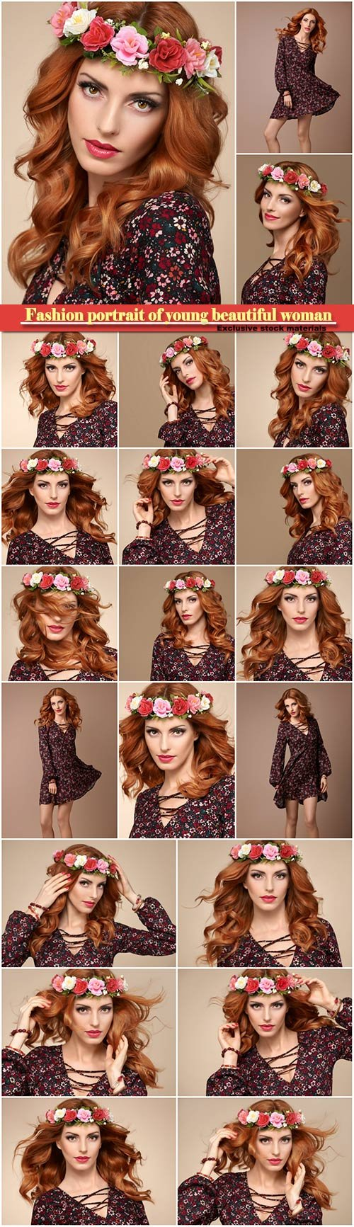 Beautiful curly redhead in fashion flower wreath