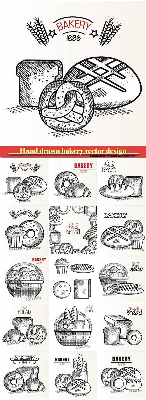 Hand drawn bakery vector design