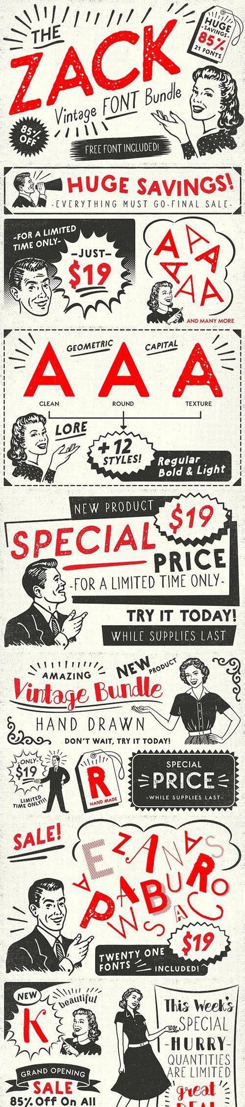 ZACK Vintage Font Bundle 1449151