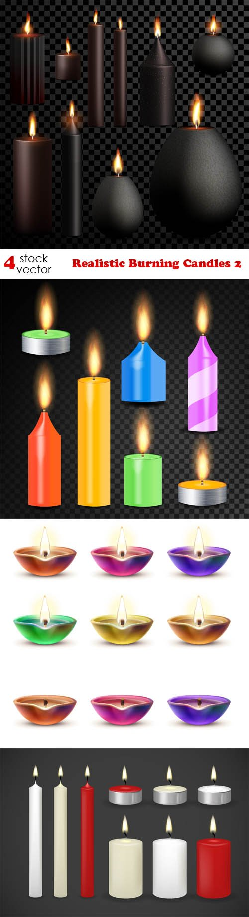 Vectors - Realistic Burning Candles 2