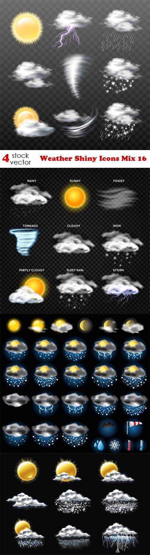 Vectors - Weather Shiny Icons Mix 16